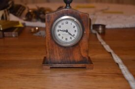 Desk mechanical old clock, beautiful original Antique collectibles