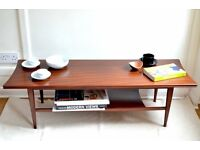 Vintage Richard Hornby Danish style two-tier teak coffee table. Delivery. Modern style.