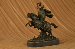 Art-Deco-100-Solid-Bronze-Sculpture-Statue-Figure-Viking-Warrior-Soldier-Horse