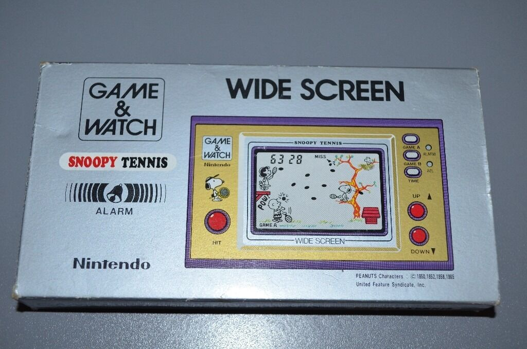 RARE Nintendo, Game and Watch, Wide Screen, Snoopy Tennis gamein Leicester, LeicestershireGumtree - RARE Nintendo, Game and Watch, Wide Screen, Snoopy Tennis game Rare collectors item game from 1982 Serial number 21717887 Model number SP 30 Made in Japan LCD display Full working condition Original box and packaging As good as new Excellent gift for...