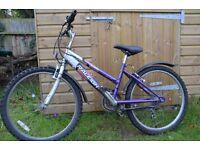 Raleigh Krush 18 speed girls bike - 24 inch wheels