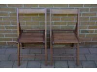 Pair of wooden folding chairs. Extra seating for Xmas ? Excellent condition both for £25