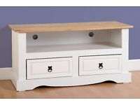 New Solid Corona Mexican Pine 2 drawer TV unit in white grey or cream