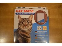 Cat Mate Glass Fitting Cat Flap Brown (New)