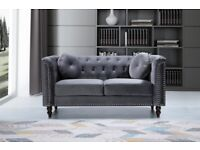 🔴QUICK DELIVERY🔴-plush velvet Florence sofa 3 and 2 seater sofa set in grey color-flat packed