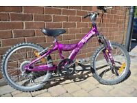"Giant Taffy 20"" girl's bike with front suspension. 5 speed"