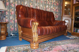 3 seater leather sofa on solid oak base