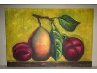 Picture painting oil on canvas stretched on frame Pear and Plums 3ft x 2ft unknown artist