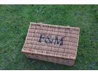 Fortnum & Mason wicker hamper basket with leather straps very strong, very good condition