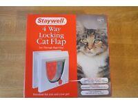 Staywell 4 Way Locking Cat Flap (White) (New)