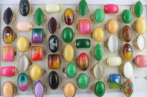 Wholesale Mixed Lots 30pcs Charm Gold P Jewelry Colorful Resin Lady
