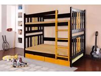 CHRIS Double Wooden Bunk Bed for Children/Kids made of Solid Wood with mattress
