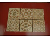 LOVELY CREAM VINTAGE TILES WITH DESIGNS 15X15cm FOR WALL ONLY 5m2