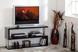 *BRAND NEW BUILT*Black High Gloss/*Free Delivery*Chrome Flat Screen TV Stand W1250mm x D400mm x H200