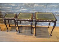 Lovely Nest of 3 Glass Top Tables with inset Tooled Leather Tops