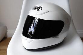 Shoei White Crash Helmet XR1000 Small Clear & Black Visors +Headset XR 1000 Motorbike Full Face £250