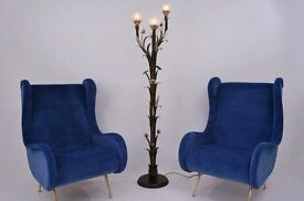 Italian tole floor lamp, gilt metal by `LS Italy`, 1970`s, Italian