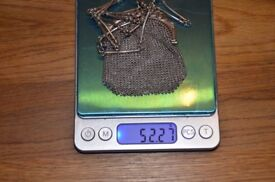 Antique Sterling Silver Mesh Purse Chain Handbag Woven. From France.