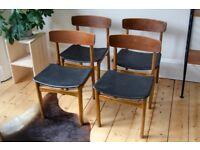 Vintage teak dining chairs x4 - Mid-century, Danish-style