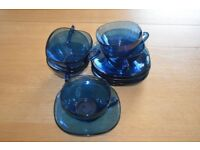 Vereco of France 6 cups and saucer set blue