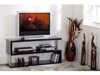 ***BRAND NEW BUILT***Black High Gloss / Chrome Flat Screen TV Stand W1250mm x D400mm x H200mm CHARM