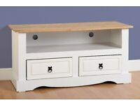 GET IT NOW New White Mexican Corona 2 drawer TV unit £129 W108xD44xH54cm