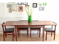 Vintage A. Younger Afromosia extending table and 4 White&Newton chairs. Delivery. Danish style.