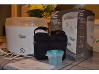 Tomme Tippee electric steriliser with insulating bag and milk powder carrier