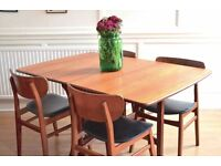 Vintage G Plan drop leaf teak table and chairs. Delivery. Modern /midcentury / Danish style.