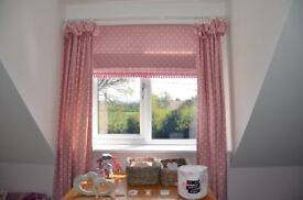 Pink polka dot curtains x2, blinds x2 & polesx2