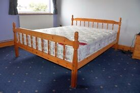 KING SIZE Pine double bed & good quality, clean mattress.