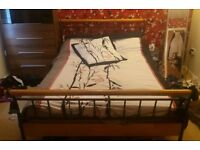 double bed frame. metal/wood