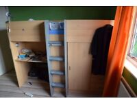 Single bunk-bed with built in storage