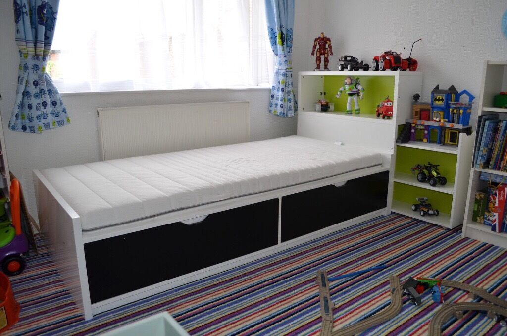 Ikea flax and bed and headboard with hidden storage | in Teignmouth ...