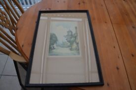 Water colour by Geo H Downing Abinger Hammer Surrey framed glass