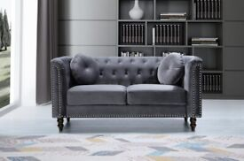 💖SALE ON🔵-plush velvet Florence sofa 3 and 2 seater sofa set in grey color-flat packed