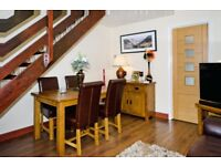 Oakland rustic extendable dining table an chairs, matching TV unit and two leather sofas