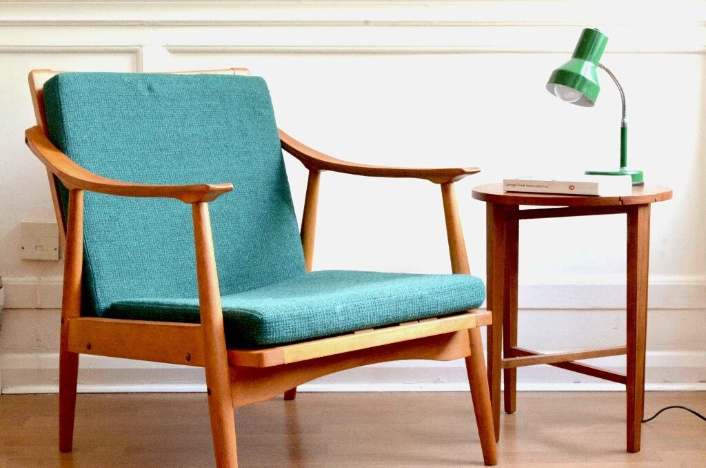 Stylish Vintage Scandinavian Armchair. Delivery. Modern / Mid Century Style.