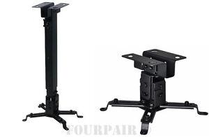 Universal-Extendable-Tilt-DLP-LCD-Ceiling-Projector-Mount-Bracket-44-lbs-Black