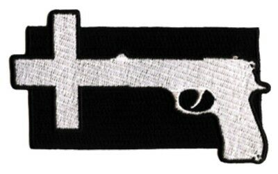 Nine Inch Nails Gun Cross Embroidered Patch N007P NIN Nitzer Ebb Ministry
