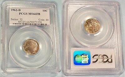 1962-D  PCGS MS66FB ROOSEVELT DIME 10C  MS 66 FB