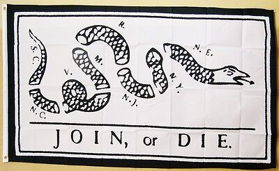 Join  Or Die  White Flag 3 X 5 Gun Rights Tea Party Usa Historical Banner