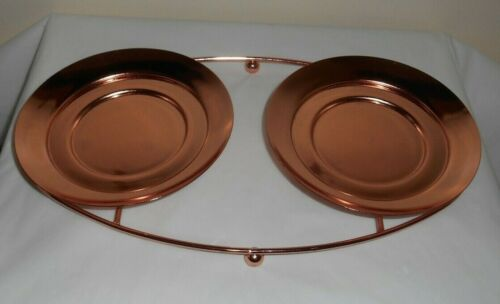 """PARTYLITE Copper Metal Double Candle Holder - each 6"""" diameter for Jar, Large"""