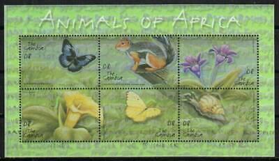 Gambia Stamp 2493  - Animals, butterflies, flowers