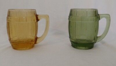 2 Vintage Mini Beer Barrel Shot Glasses Green & Amber w/handle ~Free Shipping~ (Mini Beer Shot Glasses)