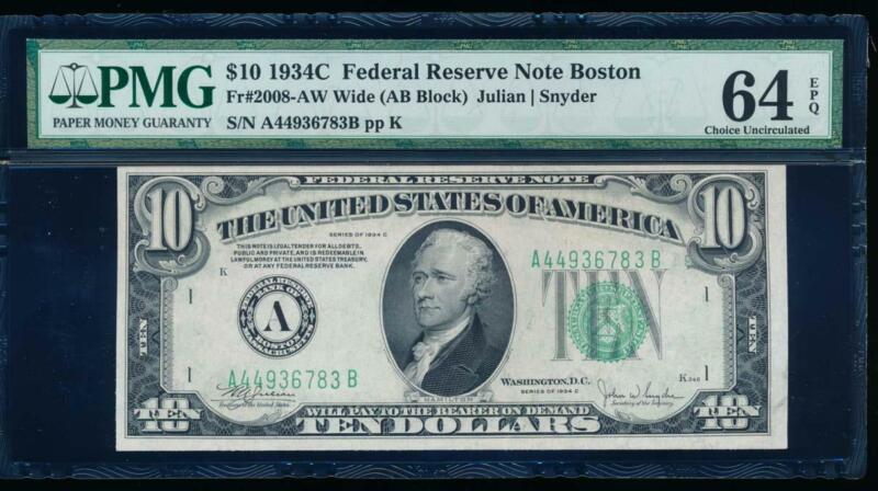 AC 1934C $10 Boston FRN PMG 64 EPQ Fr 2008-A