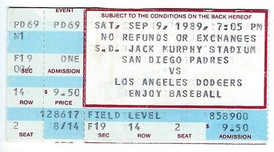 Ed Whitson Win  Mark Davis Save Ticket Stub  Dodgers At Padres  9 9 1989