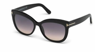Authentic Tom Ford FT0524 Alistair 01B Shiny Black Sunglasses