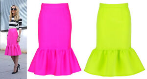 Neon green peplum skirt