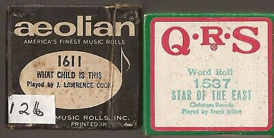 Christmas Pianola Rolls x 2.  Greensleeves + Star of the East QRS Aeolian Modern